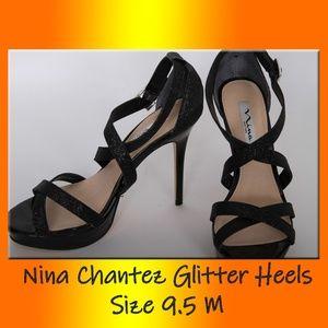 Sexy Nina Chantez Glitter Heels, Blk Size 9.5 M